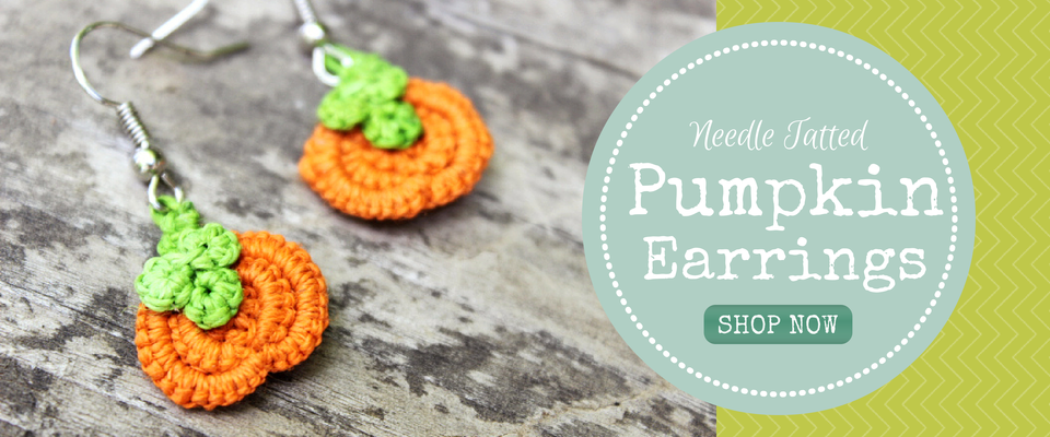 Needle Tatted Hemp Jewelry Pumpkin Earrings HempCraft