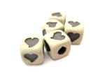 ceramic heart beads, cube, HempCraft