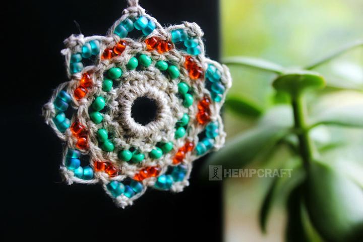 Lotus Flower Mandala Macrame Ornament