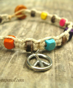 Colorful Coconut Peace Hemp Bracelet