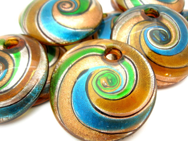 Glass pendant blue green swirl 50mm large round spiral for Glass discs for crafts
