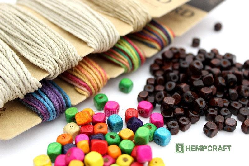 hemp jewelry making bundle hemp twine and wood beads