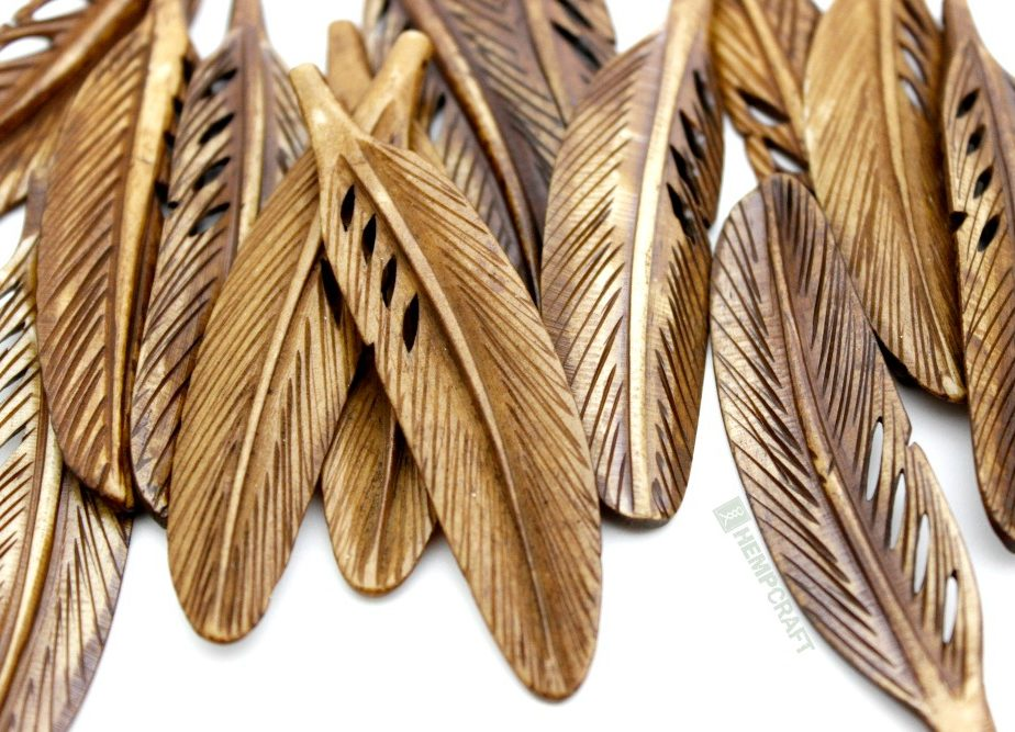 Carved Bone Feather Pendant Tea Dyed Large 70x17mm 1pc