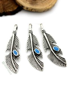 feather charms with blue enamel (10)