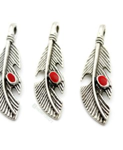 feather charms with red enamel (7)