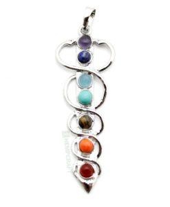 caduceus symbol gemstone pendant