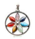 flower gemstone pendant
