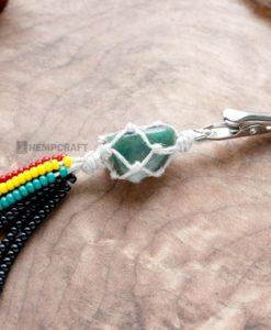 gemstone tassle clip Green agate rasta (2)