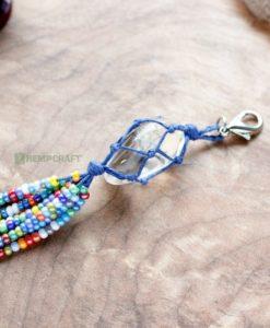 gemstone tassle clip clear quartz rainbow (2)