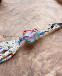 gemstone tassle clip smokey quartz rainbow (2)