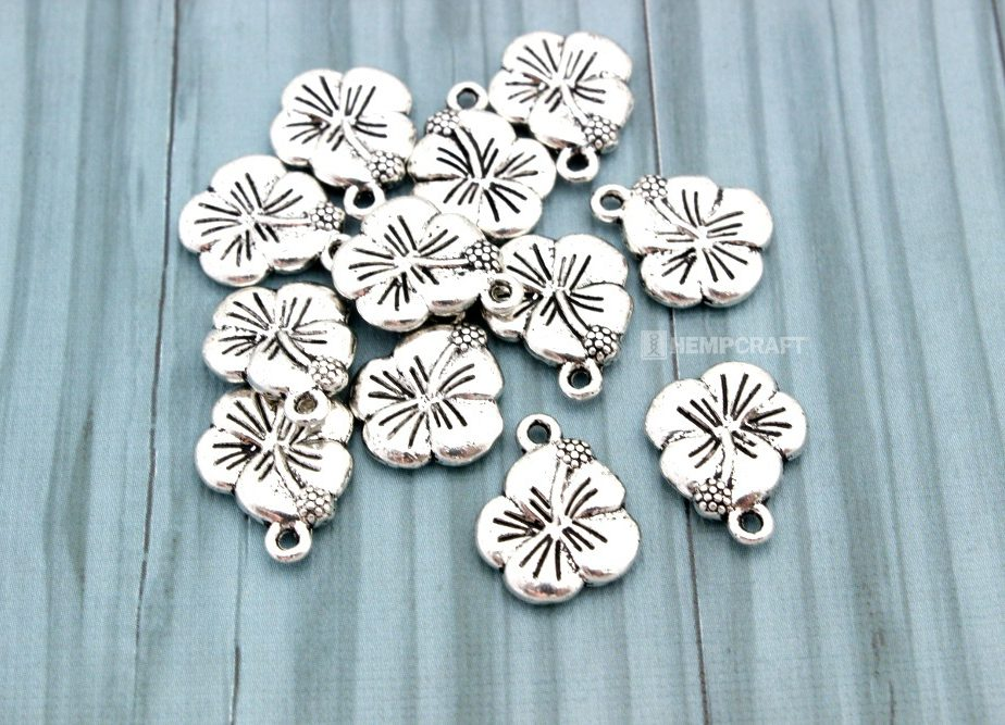 Hibiscus Flower Charms, 12pc Dream Charms, 15x12mm
